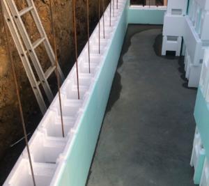 bouwkundig zwembad wapening polystyreenblokken